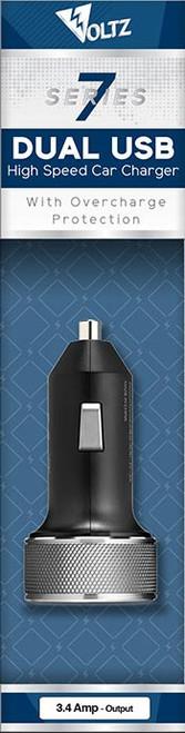 3.4A Dual USB DC Car Charger - Black