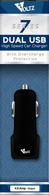 4.8A Dual USB DC Car Charger - Black