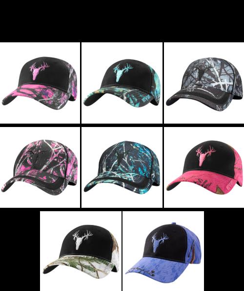 Ladies Camo Baseball Hats - 12pc Clip Strip