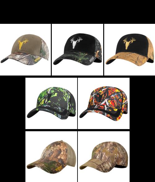 Mens Camo Baseball Hats - 12pc Clip Strip