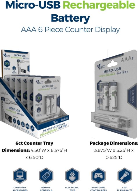 AAA Rechargeable Batteries - (6) 2-packs
