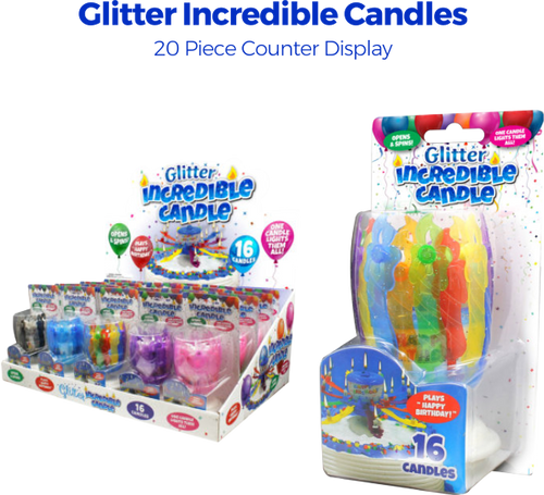 Glitter Incredible Candles - 20pc Counter Display