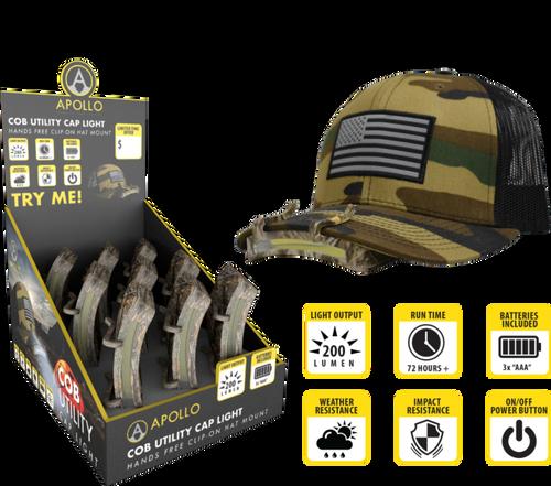 COB Camo Cap Light - 9pc Counter Display