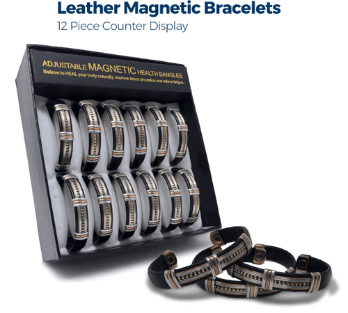 Leather Magnetic Bracelets - 12pc