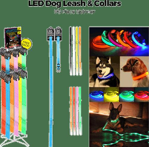 LED Dog Leash & Collars - 96 pc