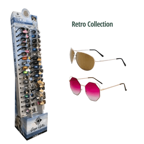 Retro Collection Sunglasses Floor Display - 36 pc