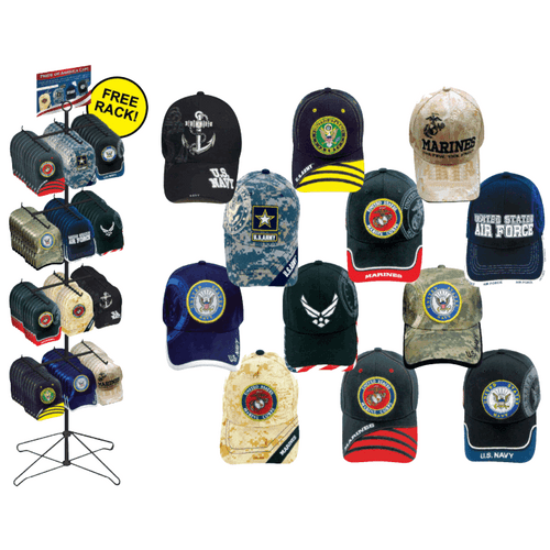 Pride of America Ball Caps Floor Display - 96 pc
