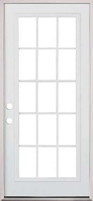 "30"", 32"", or 36"" 15 Lite Exterior Pre-Hung Primed Door"