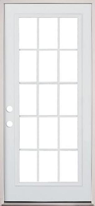 """30"""", 32"""", or 36"""" 15 Lite Exterior Pre-Hung Primed Door"""
