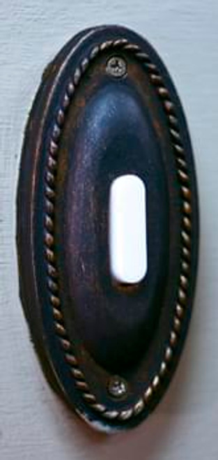 Decorative Iron Lighted Door Bell Button - Oval 601 detail