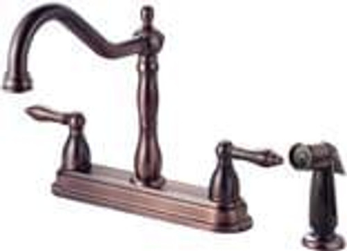 137034 Two Handle  Faucet with Spray, Classic Bronze