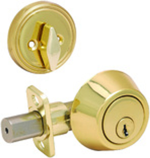 Single Cylinder Deadbolt, Polished Brass
