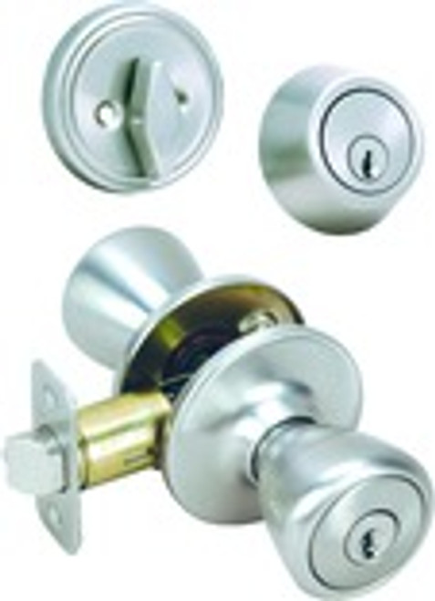 Pelham Combo Front Door Handle, Satin Nickel