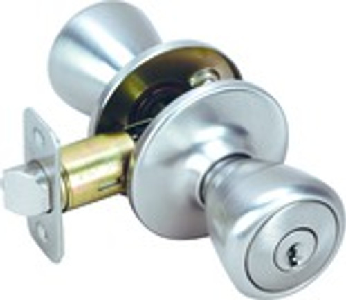 Pelham Knob Entry Door Handle, Satin Nickel