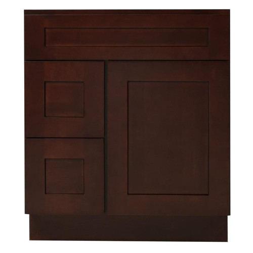 Mocha Shaker Wood Vanity Sink and 2 Drawer Base | 30""