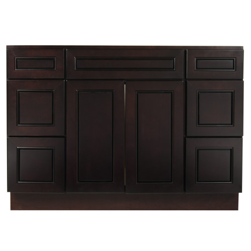 """Espresso Contempo Wood Vanity Sink and 6 Drawer Base 