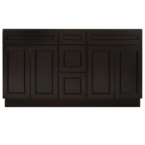 """Espresso Contempo Wood Vanity Double Sink and 3 Drawer Base   60"""""""