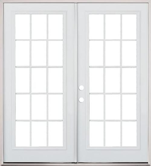 Exterior Steel French Door 15 Lite Primed Prehung Doors