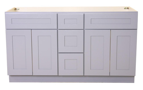 """ray Shaker Maple Vanity Double Sink and 3 Drawer Base   60"""""""