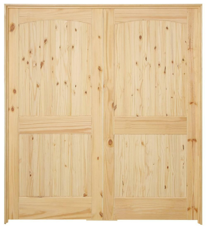 72 in x 80 in Cheyenne Knotty Pine Prehung Interior French Door