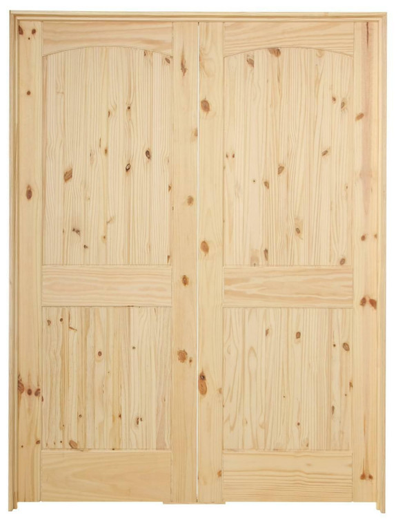 60 in x 80 in Cheyenne Knotty Pine Prehung Interior French Door