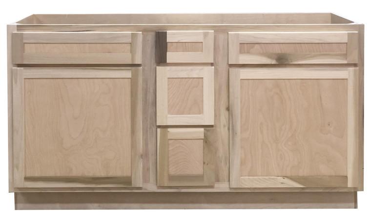 60 in Double Sink Vanity Bathroom Cabinet in Unfinished Poplar or Shaker Style