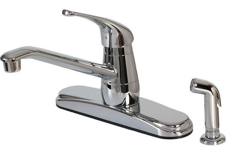 Hardware House Non-Metallic Single Handle Kitchen Faucet with Spray, Chrome