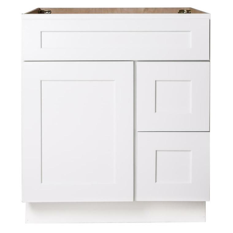 SBM White Shaker Wood Vanity Sink and 2 Drawer Base or 30