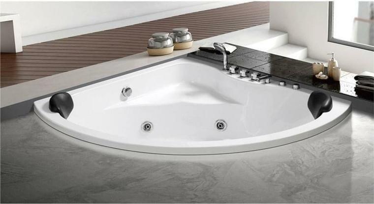 Camille Acrylic Corner Drop-In Whirlpool Bathtub in White or 59