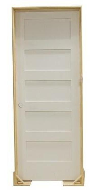 18 in x 80 in Shaker 5-Panel Solid Core Primed MDF Prehung Interior Door