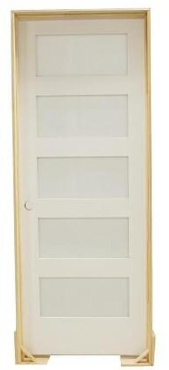 18 in x 80 in Shaker 5-Lite Frost Solid Core Primed MDF Prehung Interior Door