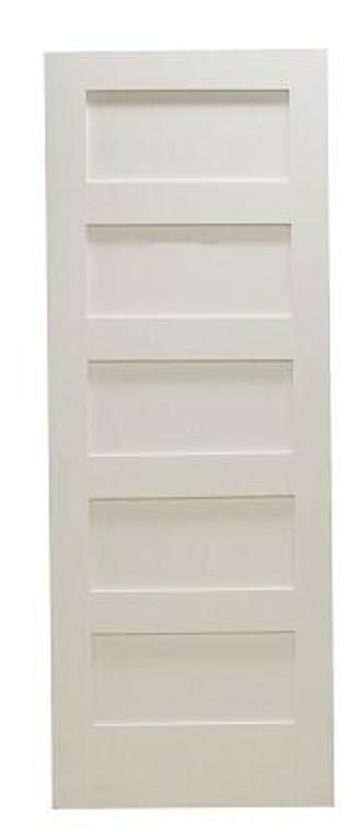 18 in x 80 in Shaker 5-Panel Solid Core Primed MDF Interior Door Slab