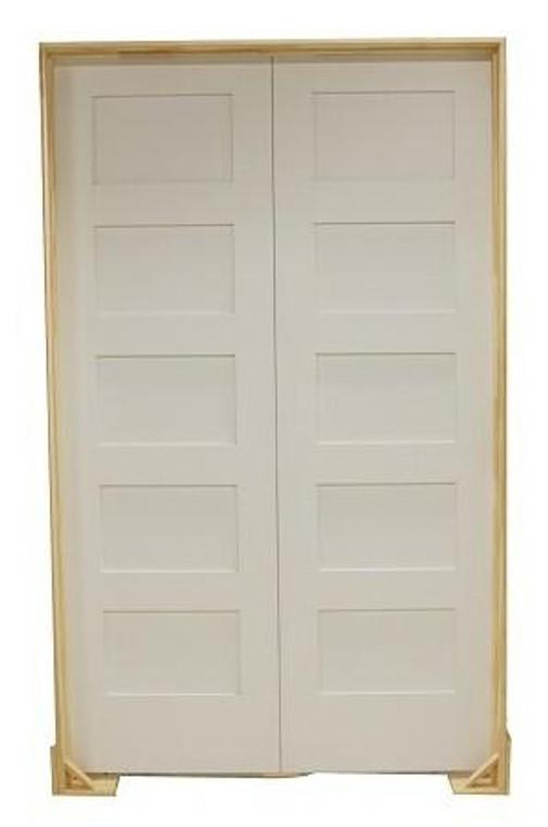 36 in x 80 in Shaker 5-Panel Solid Core Primed MDF Prehung Interior French Door