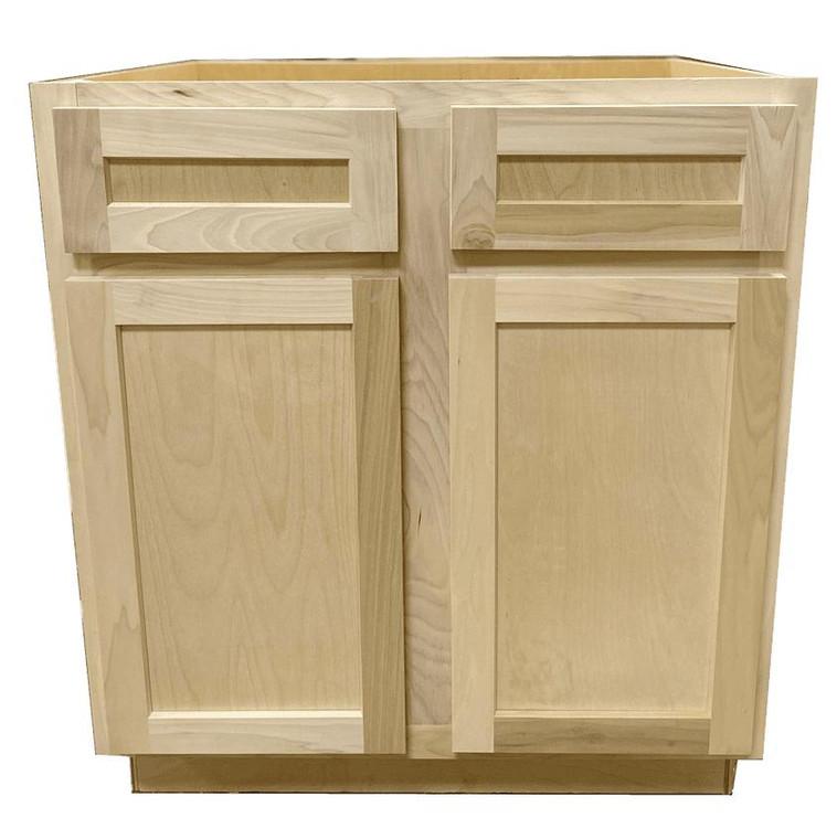 Kitchen Base Cabinet or Unfinished Poplar or Shaker Style or 30