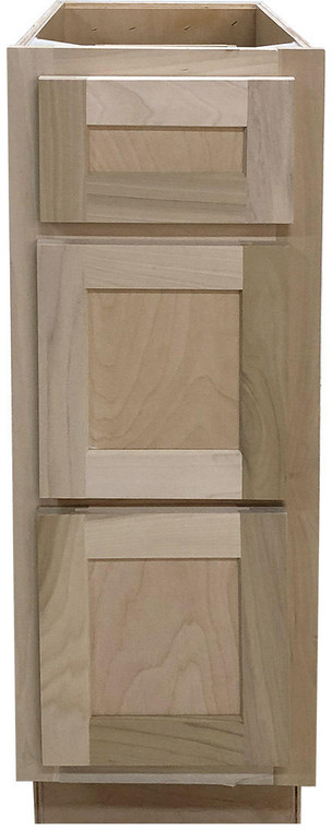 12 in Vanity Drawer Base Cabinet in Unfinished Poplar or Shaker Style or 3 Drawer