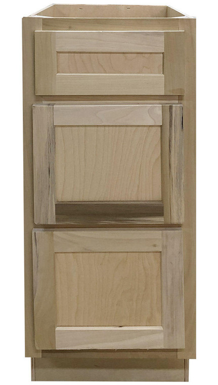15 in Drawer Base Vanity Cabinet in Unfinished Poplar or Shaker Style or 3 Drawer