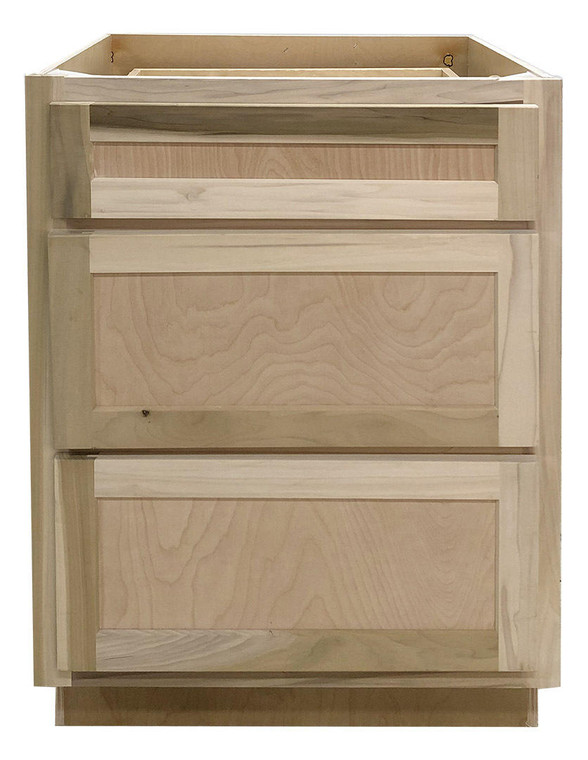 24 in Drawer Base Vanity Cabinet in Unfinished Poplar or Shaker Style or 3 Drawer