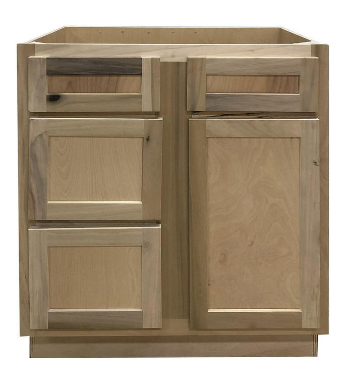 30 in Sink and Drawer Base Vanity Bathroom Cabinet in Unfinished Poplar or Shaker Style