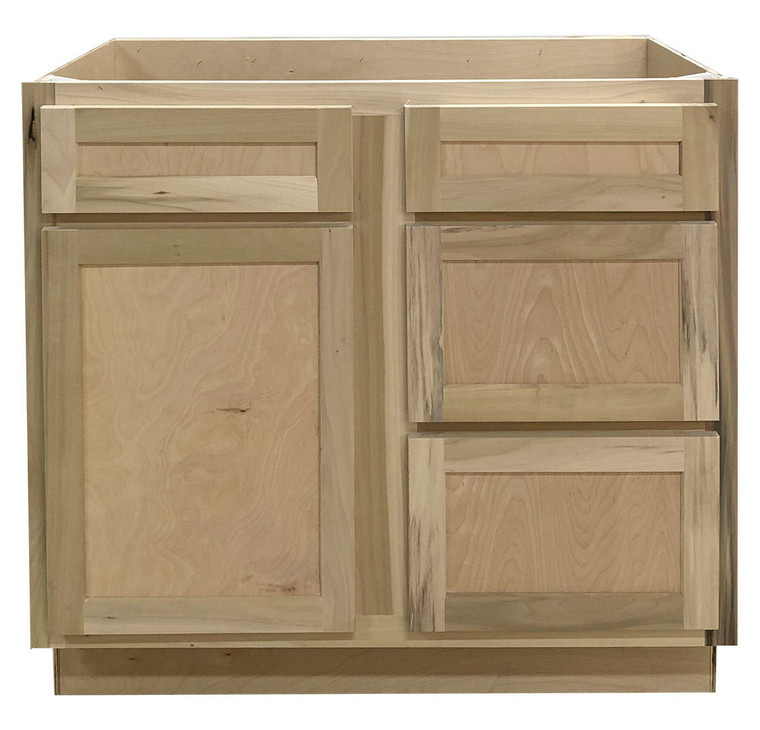 36 in Sink and Drawer Base Vanity Bathroom Cabinet in Unfinished Poplar or Shaker Style