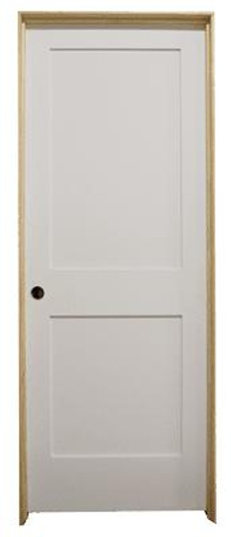 28 in x 80 in White 2-Panel Shaker Solid Core Primed MDF Prehung Interior Door