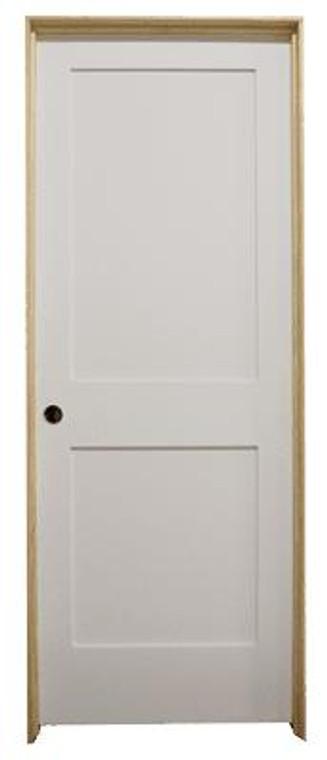 30 in x 80 in White 2-Panel Shaker Solid Core Primed MDF Prehung Interior Door
