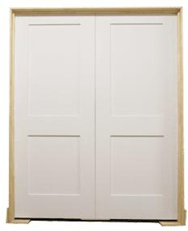 60 in X 80 in White Shaker 2-Panel Solid Core Primed MDF Prehung Interior French Door