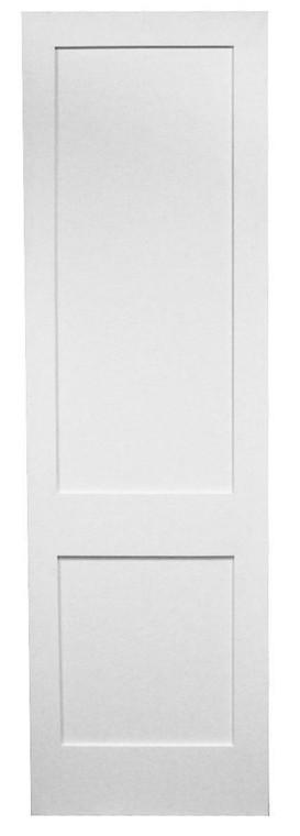 24 in x 96 in White Shaker 2-Panel Solid Core Primed MDF Interior Door Slab