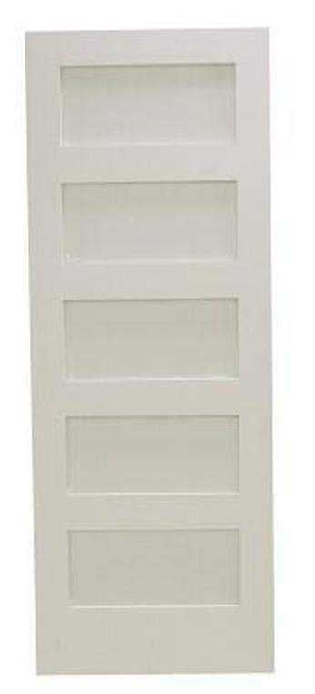 28 in x 80 in Shaker 5-Lite Frost Solid Core Primed MDF Interior Door Slab