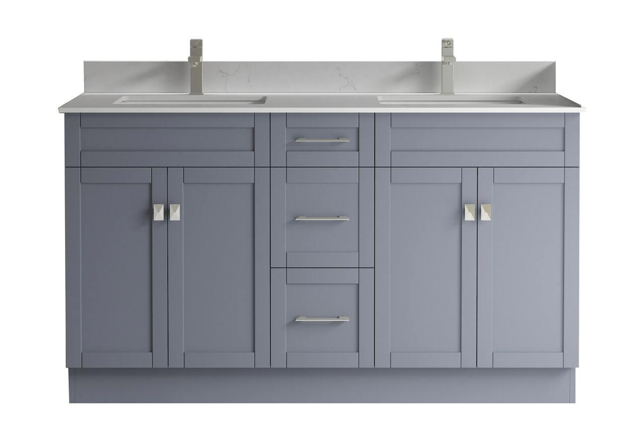 Satar 20 in Double Sink Bathroom Vanity in Grey with White Quartz Countertop