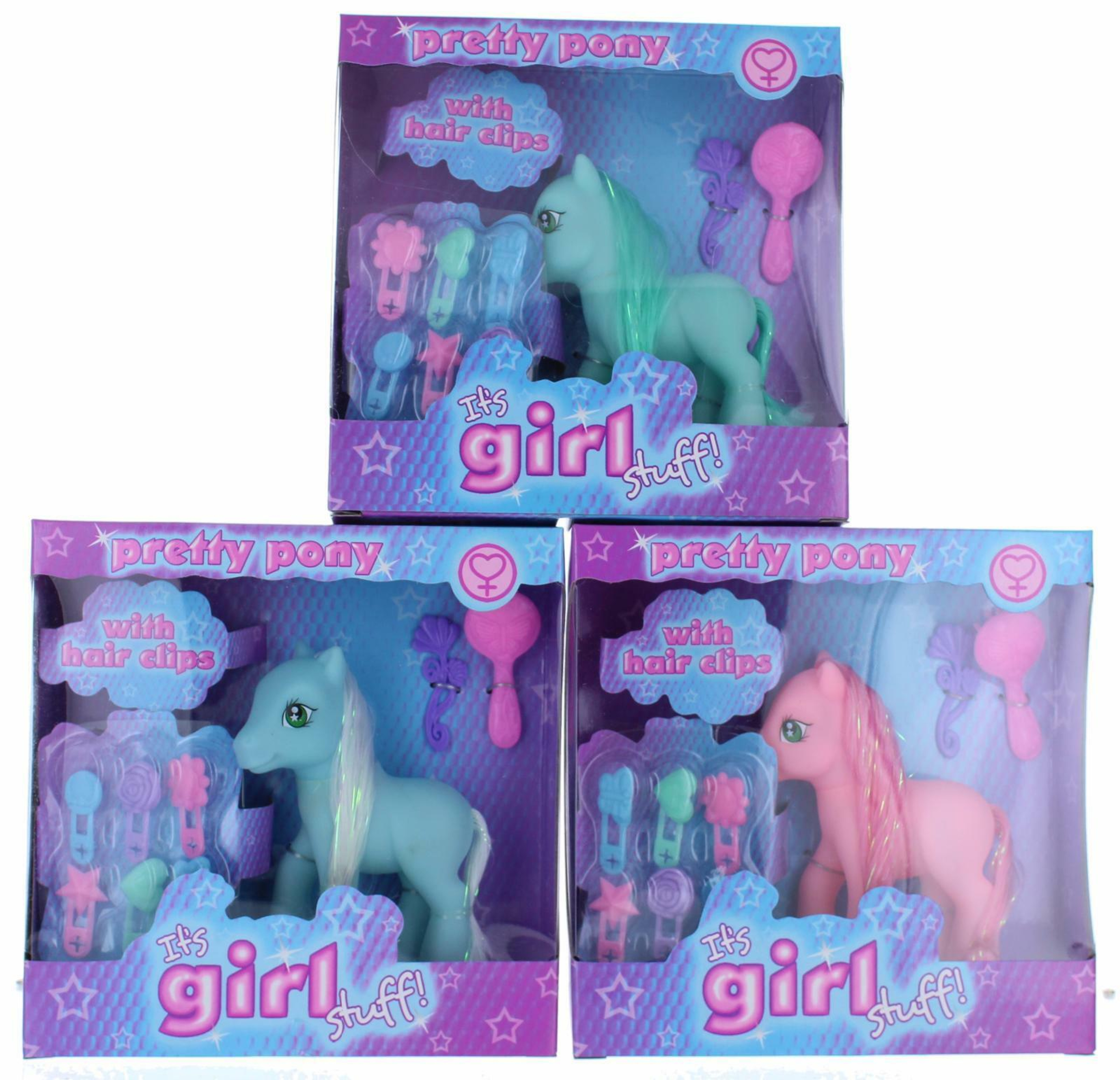 It/'s Girls Stuff Pack of 3 Fairy Ponies 2 Assorted Stocking Filler Gift Children