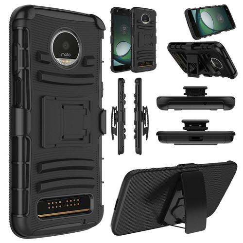 Motorola Moto Z3 Play Case Rugged Holster With Belt Clip