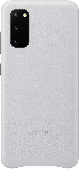Samsung Galaxy S20 Case, Leather Back Cover in Silver