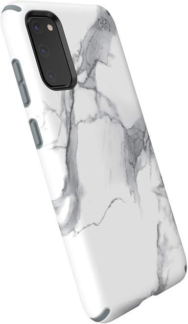 Speck Products Presidio Inked Samsung Galaxy S20 Case, Carrara Marble Matte/Grey