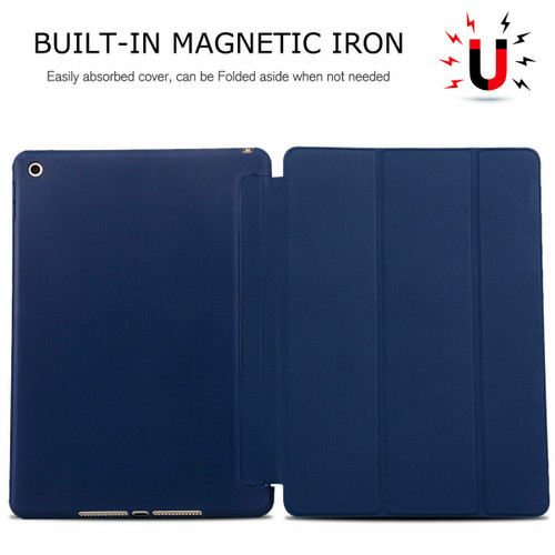 For Apple iPad 7th Gen/8th GEN 10.2 2019 Soft Leather Case Magnetic Smart Cover Dark Blue